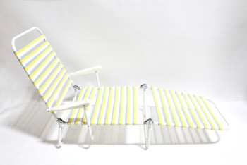 Chair, Folding, OUTDOOR/LAWN,VINTAGE STRIPED LOUNGER W/WHITE PLASTIC ARMS, ADJUSTABLE, PLASTIC, WHITE