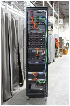 Server, Server Rack, MODERN HIGH-TECH COMPUTER SERVER RACK, COLOURED WIRES, ROLLING (Components & Wires May Not Be Identical To Cabinet Shown), METAL, BLACK