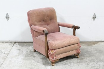 Chair, Armchair, VINTAGE,4 BUTTON TUFTED BACK,CARVED WOOD ARMS & FEET, SIDES & BACK SHREDDED BY CAT SCRATCHES, LOPSIDED, AGED/DISTRESSED , FABRIC, PINK