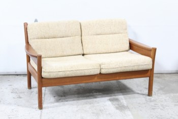 Sofa, Loveseat, DANISH MODERN, VINTAGE TEAK, CURVED BACK & ARMS, OATMEAL WOOL TEXTURED CUSHIONS, WOOD, BROWN