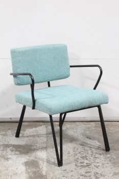 Chair, Side, RETRO STYLE, SLIGHTLY AGED TEXTURED FABRIC SEAT & BACK, BENT METAL ARMS IN BLACK FINISH W/HAIRPIN LEGS, FABRIC, BLUE
