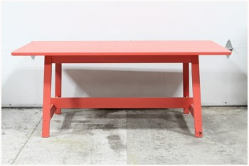 Table, Work, PLAIN, PAINTED RED, TRESTLE, WOOD, RED