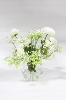 "Plant, Fake, REALISTIC SILK WHITE FLOWERS W/BABY'S BREATH, PERMANENT FLORAL ARRANGEMENT IN 5"" CLEAR GLASS VASE, TOTAL HT APPROX 13"", SILK, WHITE"