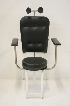 Chair, Medical, BLACK PADDED SEAT, BACK,ARMS & NECK PADS, WHITE METAL FRAME, MEDICAL/DENTAL , METAL, BLACK