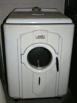 Laundry, Washing Machine, VINTAGE,ROUNDED,FRONT LOADING DRYER (WOULD DOUBLE AS A WASHING MACHINE FROM SAME ERA) *Original Antique Finish: This Item Is Not Allowed To Be Painted*, METAL, WHITE