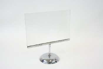 Sign, Holder, DISPLAY STAND,CLEAR SQUARE PLEXI W/ROUND METAL BASE, METAL, SILVER