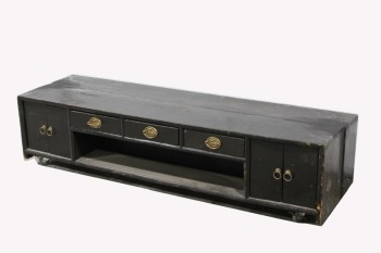 Cabinet, Display, LOW,CUPBOARD ENDS,3 DRAWERS,DRAWERS & DOORS ON BOTH SIDES, BRASS HARDWARE W/LIONS, ROLLING , WOOD, BLACK