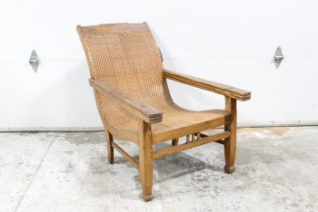 Chair, Armchair, ANTIQUE PLANTATION/COLONIAL STYLE RECLINER, WOOD FRAME W/RATTAN SEAT (*FRAGILE* NO RIPS, 01/2019), LONG ARMS W/SWIVEL WOOD SLAT LEG RESTS THAT FOLD BACK INSIDE, WOOD, BROWN