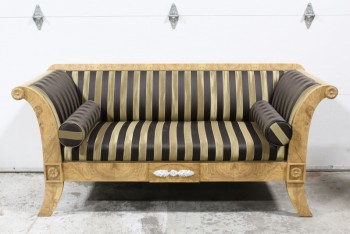 Sofa, Three Seat, CLASSIC BIEDERMEIER STYLE, BURLED OLIVEWOOD VENEER, SCROLL ARMS, FLARED LEGS, STRIPED UPHOLSTERY, CARVED MEDALLIONS, 2 BOLSTER CUSHIONS, WOOD, BROWN