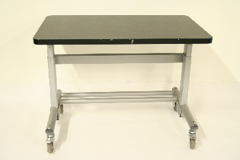 Desk, Metal, BLACK LAMINATE TOP, ROLLING , METAL, GREY