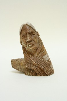 Decorative, Figurine, SOAPSTONE MAN, NATIVE & TURTLE HEAD, STONE, BROWN