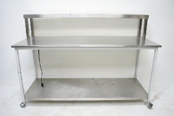 Table, Stainless Steel, 1 LOWER & 1 UPPER SHELF,FLORESCENT LIGHT, ROLLING, STAINLESS STEEL, SILVER