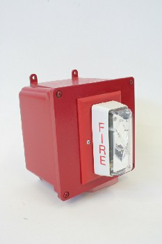 Fire, Box, SQUARE WALLMOUNT STROBE BOX W/LIGHT,