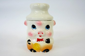 Housewares, Cookie Jar, VINTAGE,PIG W/CHEF'S HAT & FRYING PAN,BOWTIE, Condition Not Identical To Photo, CERAMIC, WHITE