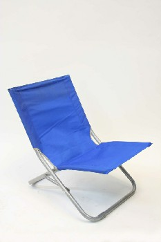 Chair, Lawn, LOW VINYL OUTDOOR LOUNGER,TUBULAR FRAME , ALUMINUM, BLUE