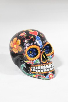 Decorative, Skull, MEXICAN SUGAR SKULL STYLE CALAVERA, DAY OF THE DEAD, PAINTED W/FLOWERS, AGED, RESIN, BLACK