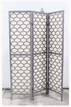 "Screen, 3 Panel, 3 PANELS (EACH 1"" THICK, 70.5""Hx17""W), GREY WOOD FRAME & ROUND PATTERN (1 SIDE, BACK UNFINISHED), LIGHT BROWN MESH BACKING, ROOM DIVIDER, WOOD, GREY"