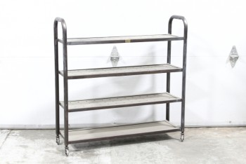Shelf, Metal, 4 WIRE LEVELS, PERFORATED SHELVES, TUBULAR FRAME W/ROUNDED SIDES, ROLLING, AGED, METAL, GREY