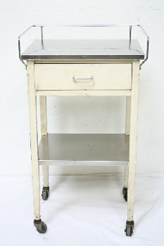 Table, Bedside, HOSPITAL,1 DRAWER W/LOWER SHELF,STAINLESS STEEL TOP,ROLLING, METAL, OFFWHITE