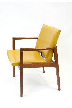 Chair, Client, WALNUT/VINYL,POINTED ARMS, WOOD, YELLOW