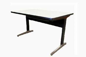 Desk, Misc, MID CENTURY MODERN TABLE DESK,CHROME FEET,WOOD LAMINATE TOP, 1 PLASTIC PENCIL DRAWER, AGED, METAL, WHITE