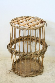 Cage, Wood, CYLINDRICAL,WOOD BARS,THIN SLAT LATTICE LID W/LEATHER TIE, STRAW WRAPPED CENTRE, RUSTIC, AGED, WOOD, NATURAL