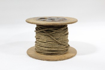 Spool, Miscellaneous, VINTAGE WOOD SPOOL W/METAL CENTRE,ROPE WRAPPED, WOOD, BROWN