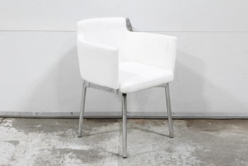 Chair, Side, MODERN,WHITE SWIVEL SEAT W/ARMS & VISIBLE STITCHING, CHROME LEGS, LEATHER, WHITE
