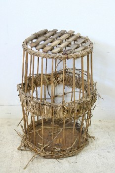 Cage, Wood, CYLINDRICAL,WOOD BARS,SLAT LATTICE LID W/LEATHER TIE, STRAW WRAPPED CENTRE, RUSTIC, AGED, WOOD, NATURAL