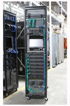 Server, Server Rack, MODERN HIGH-TECH COMPUTER SERVER RACK, COLOURED WIRES, ROLLING (Components May Not Be Identical To Cabinet Shown) W/MONITOR , METAL, BLACK