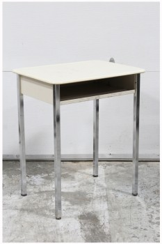 Desk, Student, SCHOOL/STUDENT,WHITE/CREAM LAMINATE DESK TOP W/CUBBY, REFLECTIVE METAL LEGS, METAL, WHITE
