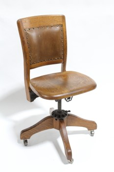 Chair, Office, OAK,VINTAGE,BROWN LEATHER PANEL W/TACK TRIM ON SEAT BACK, ROLLING, WOOD, BROWN