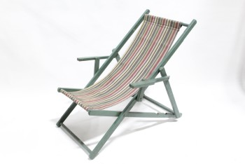 Chair, Folding, VINTAGE, OUTDOOR/BEACH, FOLDING GREEN WOOD FRAME W/ARMS, STRIPED CANVAS SEAT - Measurements As Shown In Photo, WOOD, GREEN
