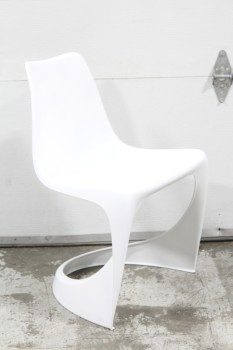 Chair, Side, MODERN, CANTILEVER, CURVED MOLDED SEAT, PLASTIC, WHITE