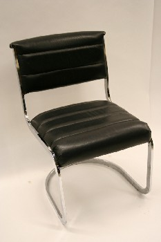 Chair, Side, CANTILEVER,HORIZONTAL RIBBING W/FLOATING BACK & CHROME FRAME, LEATHER, BLACK