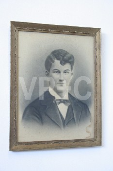 Art, Drawing, CLEARABLE,PORTRAIT,YOUNG MAN W/BOWTIE,GOLD COLOURED FRAME, WOOD, GREY