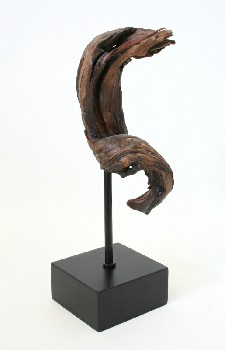 Science/Nature, Wood, TWISTED PIECE OF DRIFTWOOD ON SQUARE BLACK BASE , WOOD, BROWN