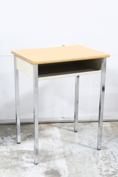 Desk, Student, SCHOOL/STUDENT,LIGHT COLOURED LAMINATE DESK TOP W/CUBBY, REFLECTIVE METAL LEGS - Condition/Chipped Areas Slightly Different On All Desks , METAL, BROWN