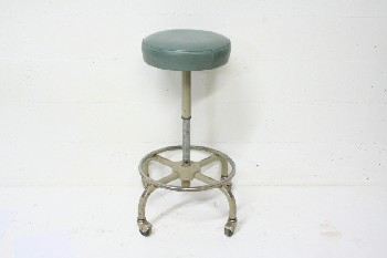Stool, Adjustable, MEDICAL,ROUND SEAT,OLD STYLE,ROLLING, METAL, BLUE