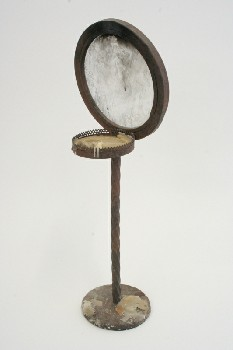 Candles, Holder, MEDIEVAL,ROUND BACK & BASE W/WAX DRIPPINGS, IRON, RUST