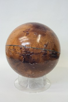 Globe, Tabletop, BLACK & BROWN MOON GLOBE ON CLEAR PLASTIC STAND, PLASTIC, BROWN