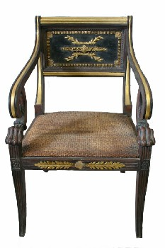 Chair, Misc, REGENCY STYLE,VINTAGE,GOLD COLOURED TRIM, EMBELLISHED SEAT BACK, CARVED CLAW & SCROLLED ARMS, WICKER/WOVEN SEAT, WOOD, BROWN