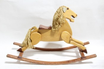 Toy, Animal, ROCKING HORSE, ROPE MANE, HEAD TILTED, MOUTH OPEN, WOOD, BROWN