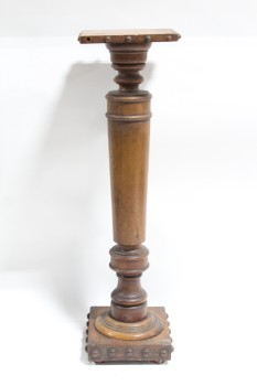 Plinth, Wood, ANTIQUE DISPLAY COLUMN, PLANT STAND, STUDDED TRIM, WOOD, BROWN
