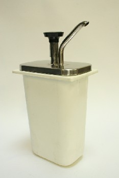 Restaurant, Dispenser, SYRUP,W/SILVER METAL PUMP, PLASTIC, OFFWHITE