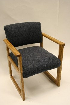 Chair, Client, SQUARE WIDE OAK ARMS/LEGS,FABRIC SEAT (Arms May Be Slightly Different Than Shown) , WOOD, BLUE