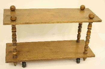 Table, Misc, 2 LEVELS W/TURNED SPINDLE SUPPORTS, ROLLING, VINTAGE , WOOD, BROWN