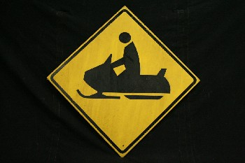 Sign, Road, SNOWMOBILE CROSSING SYMBOL,DIAMOND,BLACK TEXT, WOOD, YELLOW
