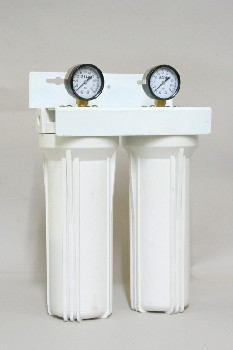 Medical, Container, 2 LAB CYLINDERS W/PSI GAUGES,WALLMOUNT FRAME, PLASTIC, WHITE