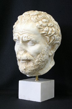 Statuary, Bust, MAN, NOSE MISSING, ANTIQUE FINISH, SQUARE BASE, ANCIENT GREEK/ROMAN STYLE, MUSEUM RELIC/REPLICA, PLASTER, OFFWHITE